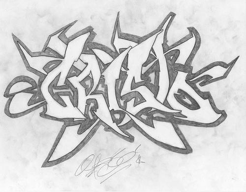 Dibujos de Graffitis Chidos- gris