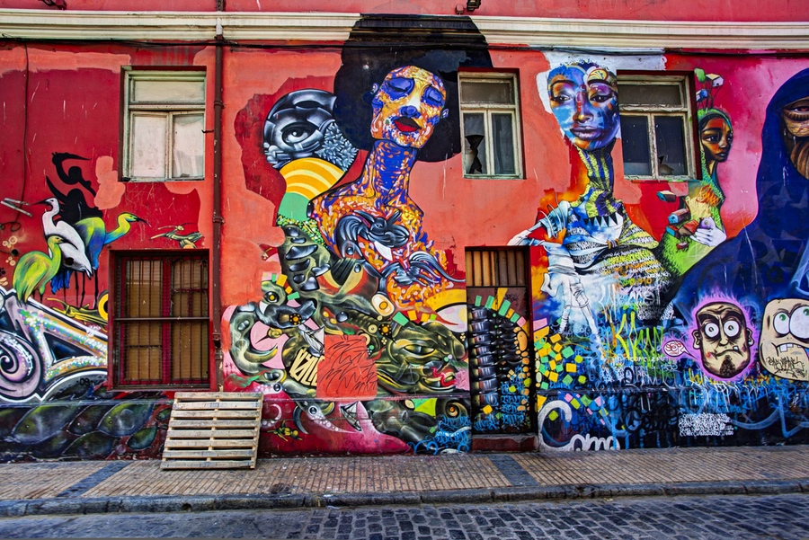 Graffiti street art is abundant in the streets of Valparaíso, Chile.