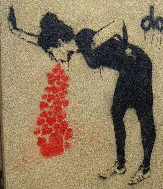 graffitis de amor chidos - mujer con corazones saliendo de su boca