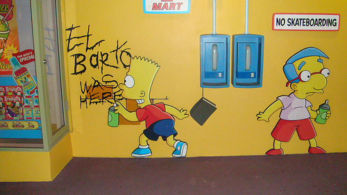 Graffitis de los Simpson- el barto was here