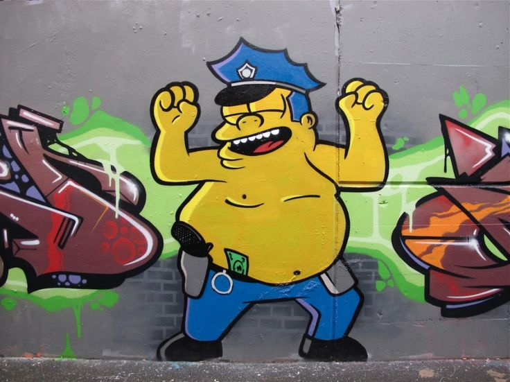Graffitis de los Simpson- gordo policia