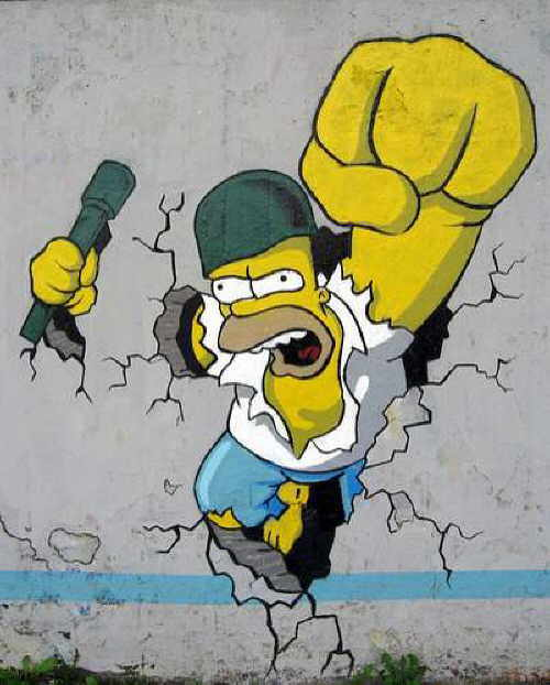Graffitis de los Simpson- saliendo de la pared