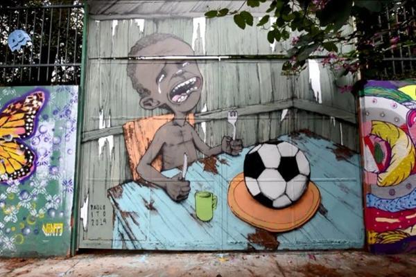 graffitis de futbol - nino mundial