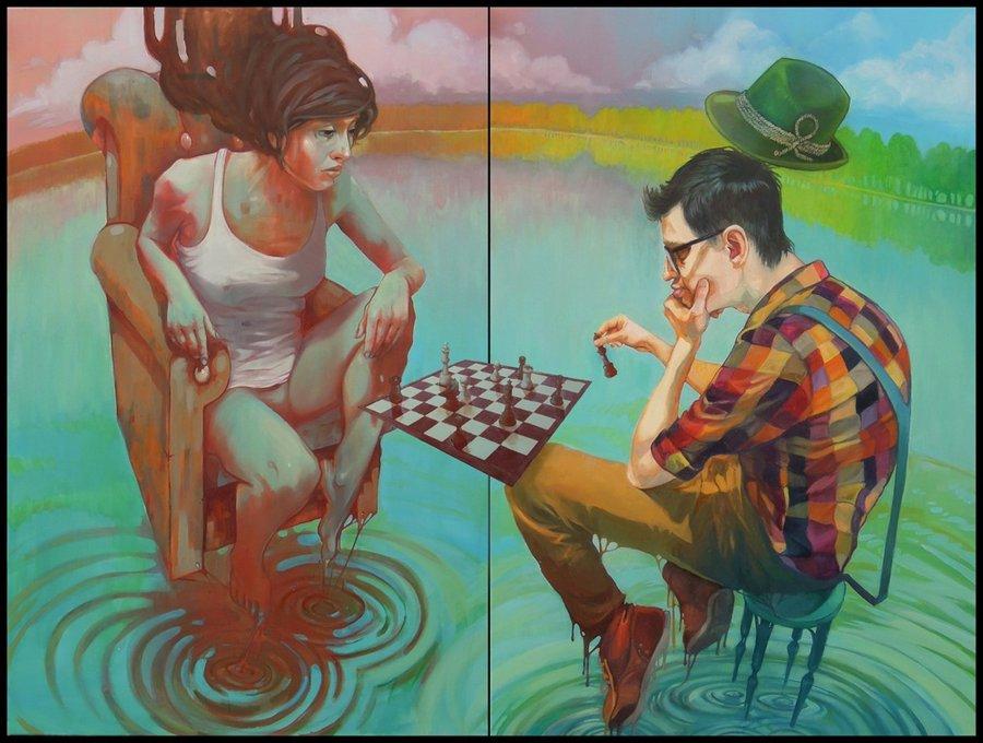 graffitis de mujeres - jugando ajedrez